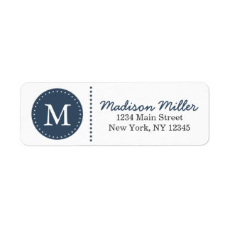Navy Blue Circle Dots Custom Monogram