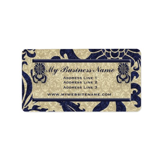Navy Blue Classic Swirls Business Address Label