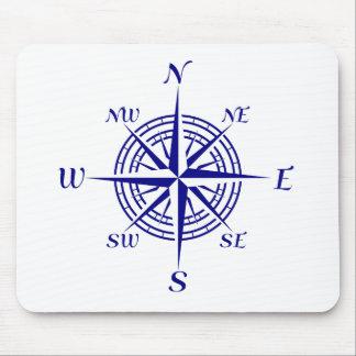 Navy Blue Coastal Compass Rose Mouse Pad