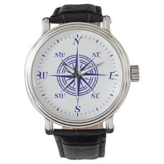 Navy Blue Coastal Compass Rose Wristwatches