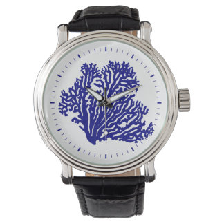 Navy Blue Coastal Coral Wristwatch