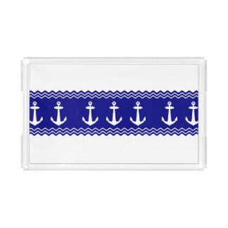 Navy Blue Coastal Pattern Anchors Acrylic Tray