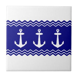 Navy Blue Coastal Pattern Anchors Ceramic Tiles