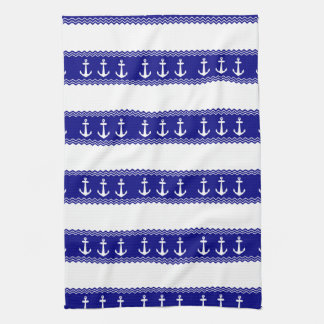 Navy Blue Coastal Pattern Anchors Hand Towels
