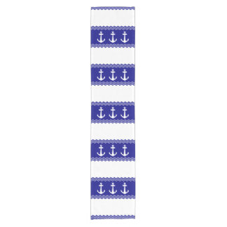 Navy Blue Coastal Pattern Anchors Short Table Runner
