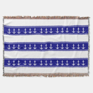 Navy Blue Coastal Pattern Anchors Throw Blanket