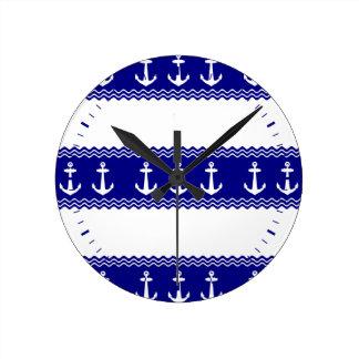 Navy Blue Coastal Pattern Anchors Wallclocks