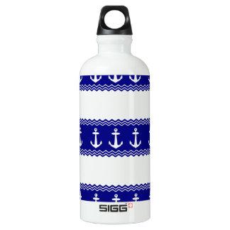 Navy Blue Coastal Pattern Anchors Water Bottle
