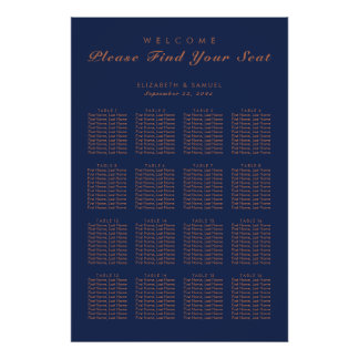 Navy Blue Copper Trees Avenue Table Plan Poster