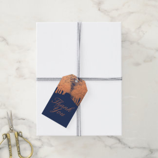 Navy Blue Copper Trees Avenue Thank You Gift Tags