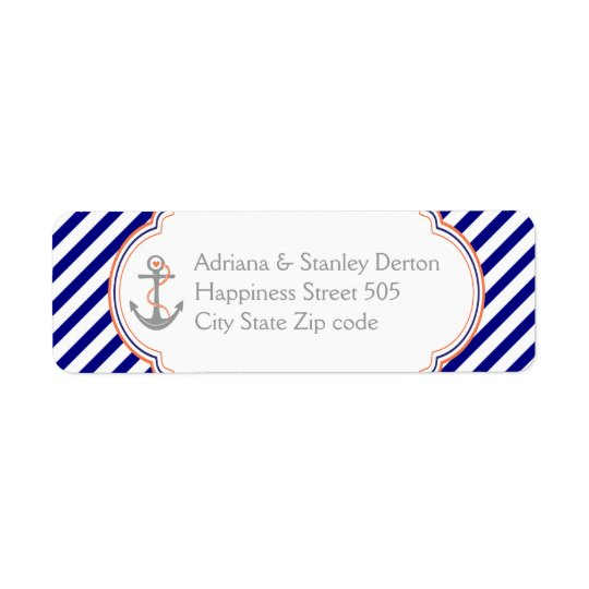 Navy blue, coral anchor nautical wedding