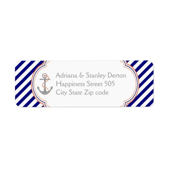 Navy blue, coral anchor nautical wedding return address label