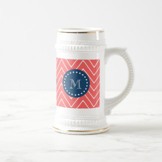 Navy Blue, Coral Chevron Pattern | Your Monogram Beer Steins