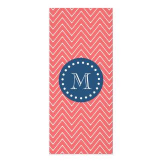 Navy Blue, Coral Chevron Pattern | Your Monogram 4x9.25 Paper Invitation Card