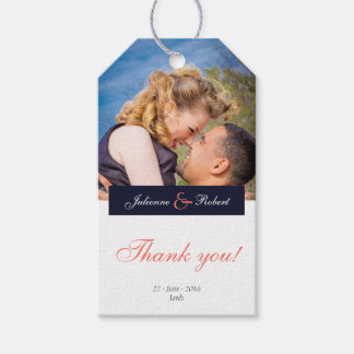 Navy Blue Coral Photo Thank You Favor Gift tags