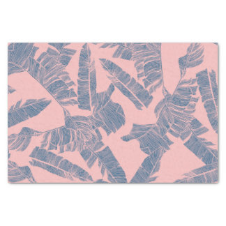 Navy Blue Coral Pink Banana Leaves Pattern Tissue Paper