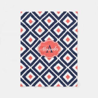 Navy Blue, Coral, White Ikat Diamond Pattern Fleece Blanket
