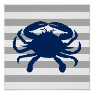 Navy Blue Crab Grey and White Stripe Poster