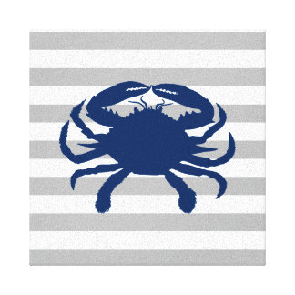 Navy Blue Crab Grey and White Stripes Canvas Print