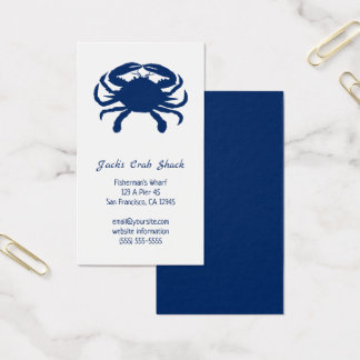 Navy Blue Crab Silhouette Seafood Restaurant Business Card