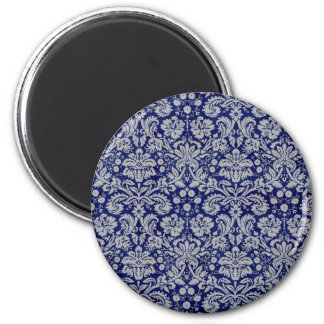 Navy Blue Damask 2 Inch Round Magnet