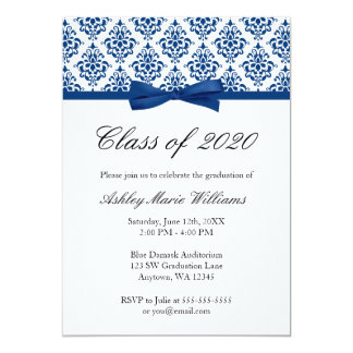 Navy Blue Damask Bow Graduation Announcement