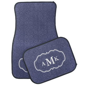 Navy Blue Damask Monogram Car Mat