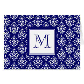 Navy Blue Damask Pattern 1 with Monogram Card