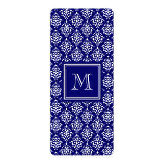 Navy Blue Damask Pattern 1 with Monogram 4x9.25 Paper Invitation Card