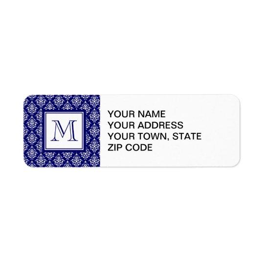 Navy Blue Damask Pattern 1 with Monogram Return Address Label