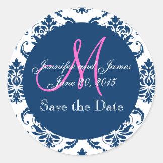 Navy Blue Damask Pink Monogram Save the Date Classic Round Sticker
