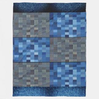 Navy Blue Denim Check Printed blanket