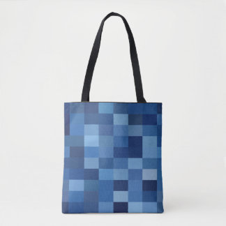 Navy Blue Denim Check Printed Tote