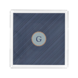 Navy blue diagonal stripes personalized monogram acrylic tray