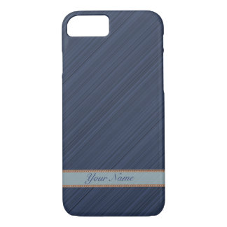 Navy blue diagonal stripes personalized name iPhone 8/7 case