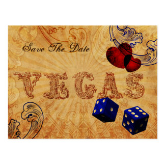 navy blue dice Vintage Vegas save the date Postcard