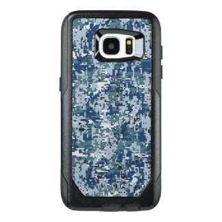 Navy Blue Digital Camouflage Decor on a OtterBox Samsung Galaxy S7 Edge Case
