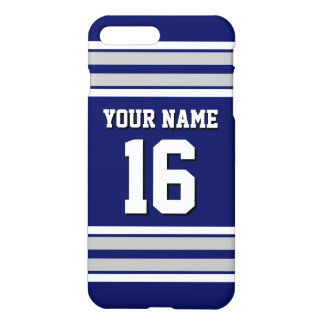 Navy Blue Dk Gray Team Jersey Custom Number Name iPhone 7 Plus Case