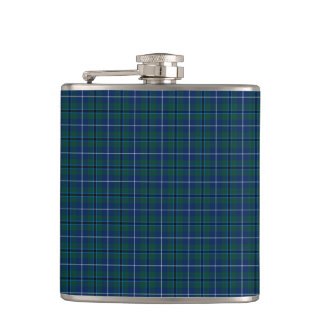 Navy Blue Douglas Clan Modern Scottish Plaid Hip Flask