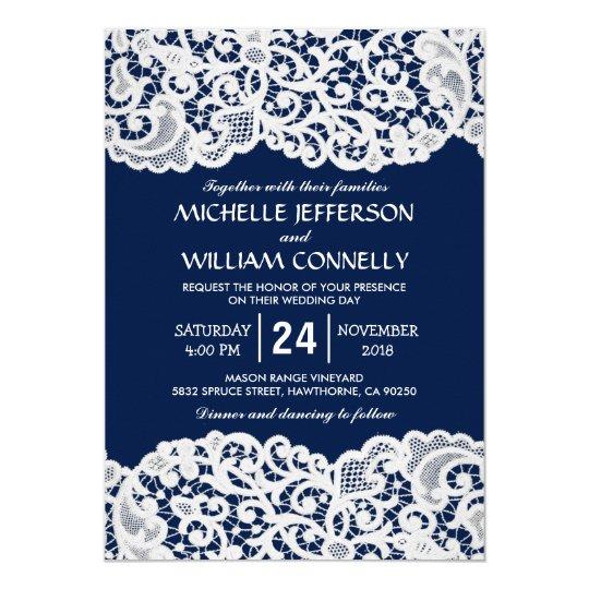 Navy Blue Elegant Bridal Lace Wedding Card