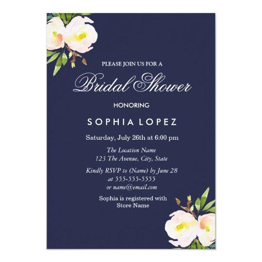 Navy Blue Elegant Floral Bridal Shower Invitation