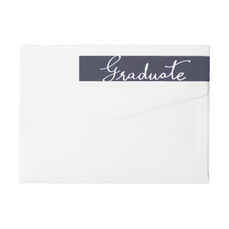 Navy Blue Elegant Graduate Typography Wrap Around Label