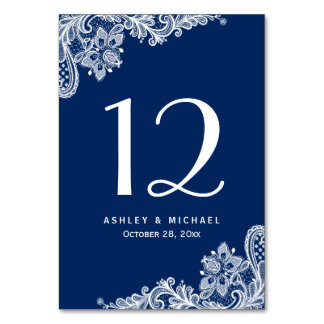 Navy Blue Elegant White Lace Wedding Table Number Table Cards