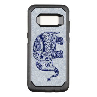 Navy-Blue Elephant Floral Illustration OtterBox Commuter Samsung Galaxy S8 Case