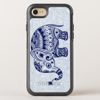 Navy Blue Elephant Floral Illustration OtterBox Symmetry iPhone 8/7 Case
