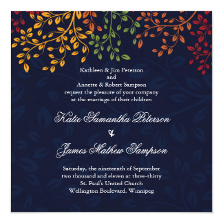"Navy Blue Fall Wedding - Custom Colours 5.25"" Square Invitation Card"