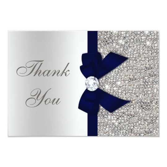 Navy Blue Faux Bow Silver Sequins Thank You Card