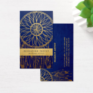 Navy Blue | Faux Gold Foil Bohemian Dream Catcher Business Card