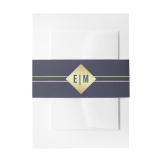 Navy Blue   Faux Gold Foil Invitation Belly Bands Invitation Belly Band