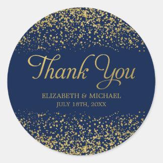 Navy Blue Faux Gold Glitter Wedding Thank You Round Sticker